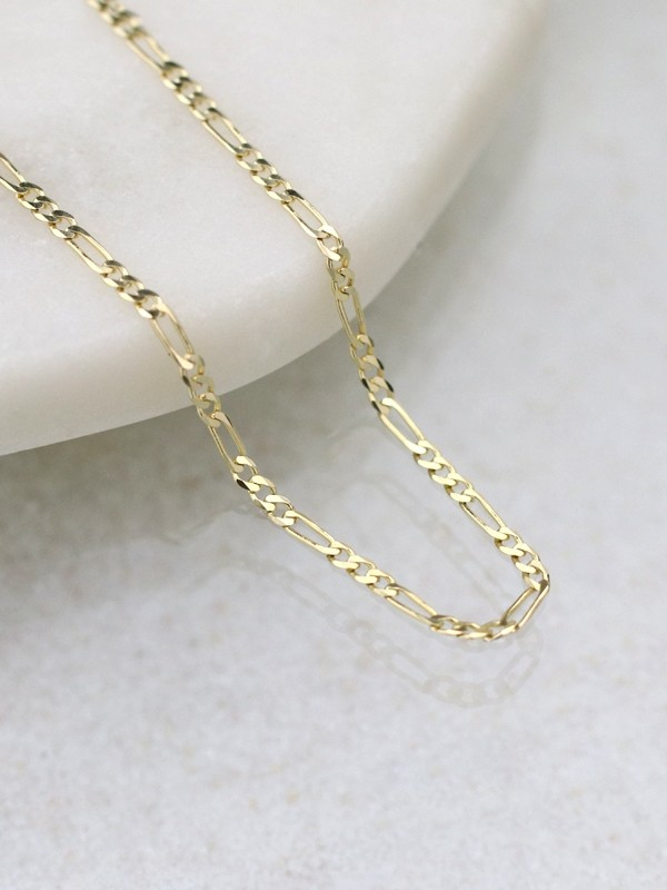 3mm Figaro Solid 14 Karat Gold Chain