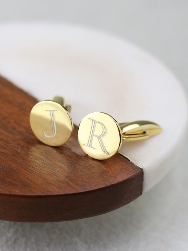 Disc Cufflink Gold Plated