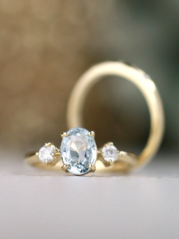 SET: Celestial Dream Blue Sapphire and Diamond Engagement Ring + Simple 5 Stone Diamond Solid 14 Karat Gold Band