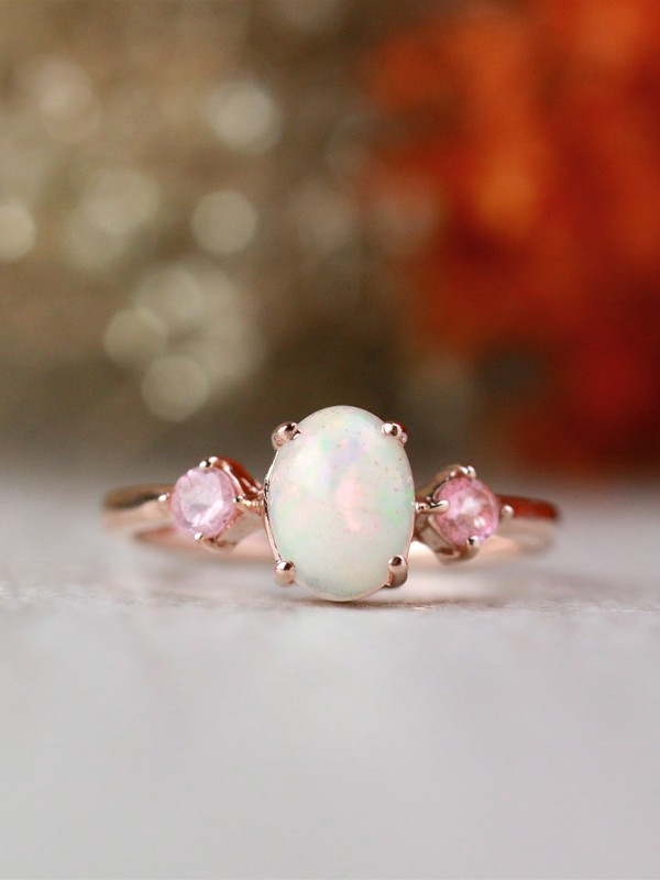 8x6MM Natural Oval Opal with Blush Pink Tourmaline Solid 14 Karat Gold Three Stone Ring