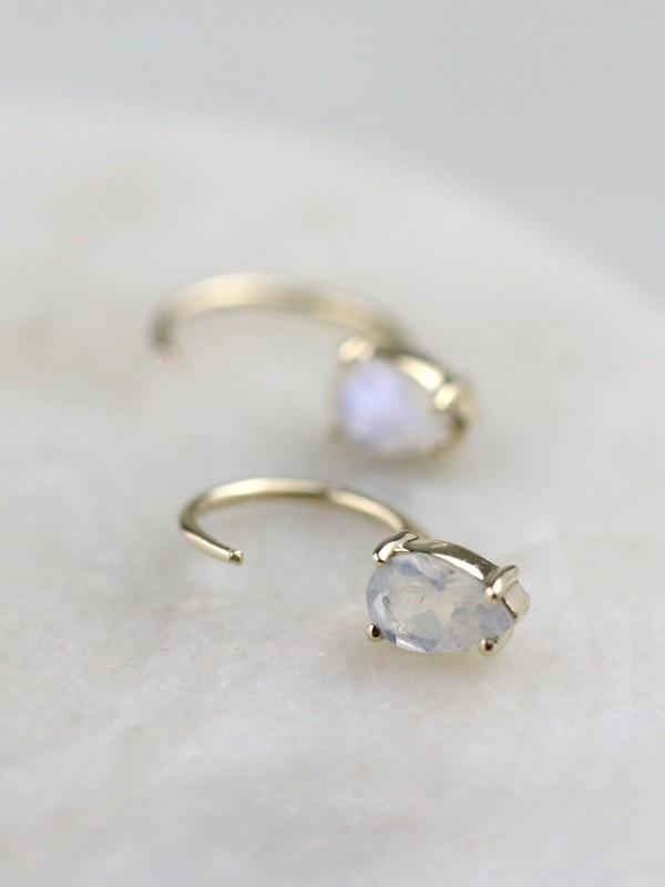 Teardrop Moonstone Solid 14 Karat Gold Open Huggie Earrings