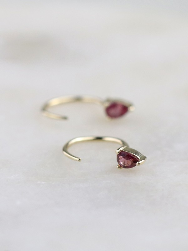 Pink Teardrop Tourmaline Solid 14K Gold Open Huggie Earrings