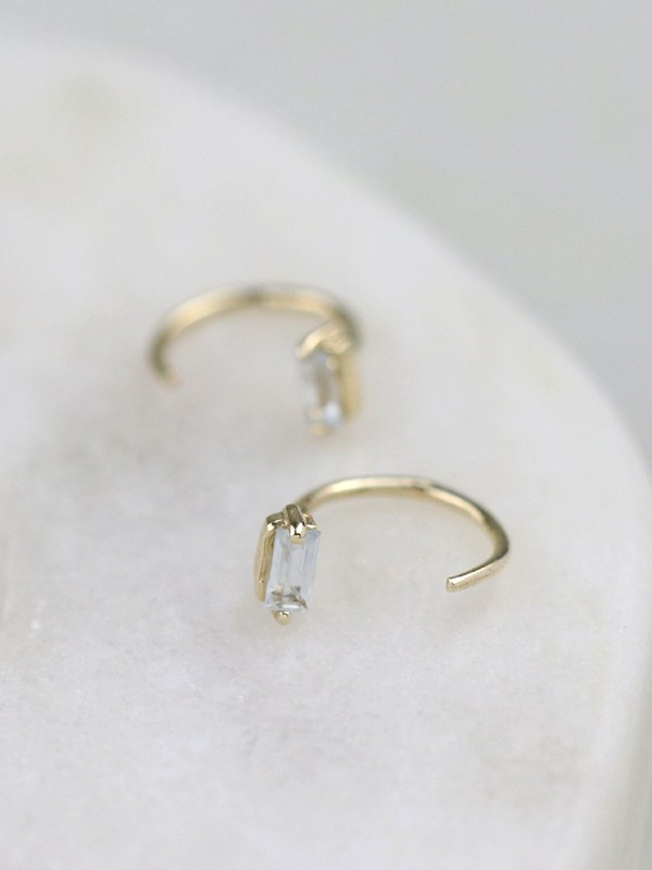 Baguette White Sapphire Solid 14K Gold Open Huggie Earrings