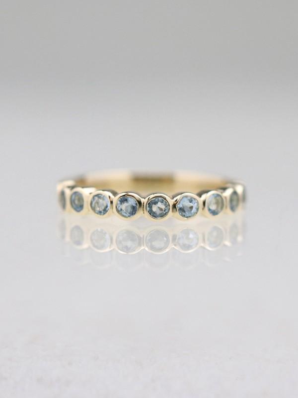 Natural Aquamarine Bezel Solid 14 Karat Gold Ring