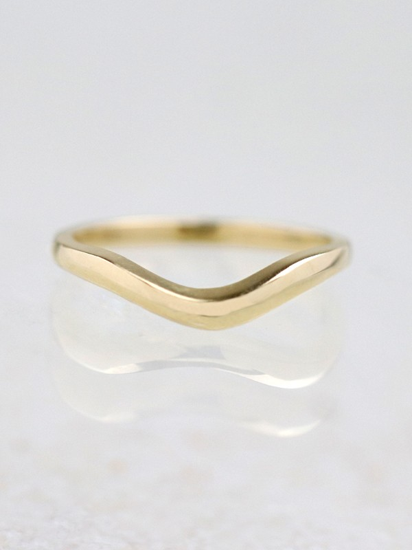 Simple Gold Wavy 14 Karat Gold Band