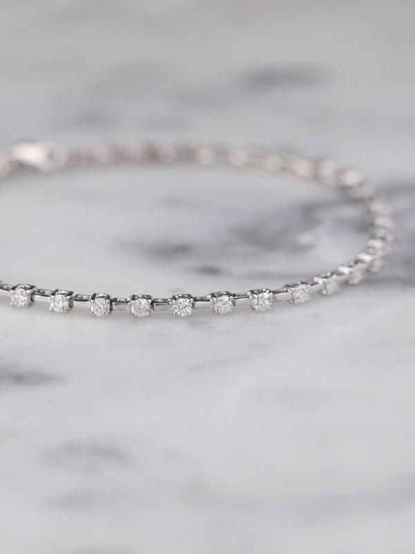 1.08 Carat Dainty Solid 14 Karat Gold Diamond Tennis Bracelet