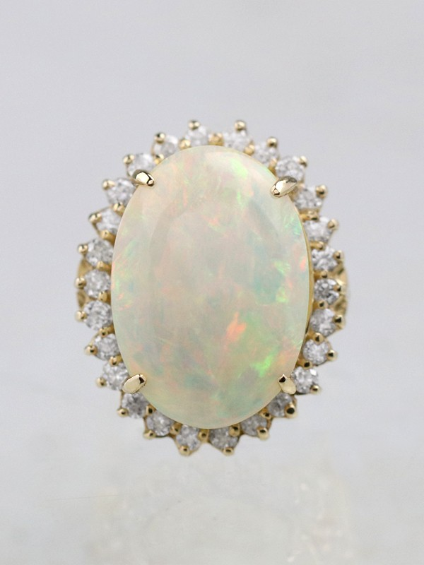 9.50CT Australian Opal Diamond Halo Classic 14K Gold Ring