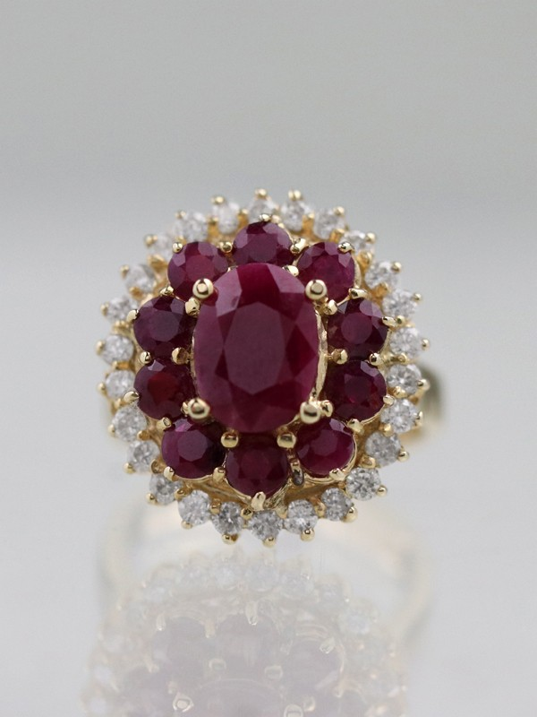 4.18ct Natural Ruby and Diamond 14K Cluster Cocktail Ring