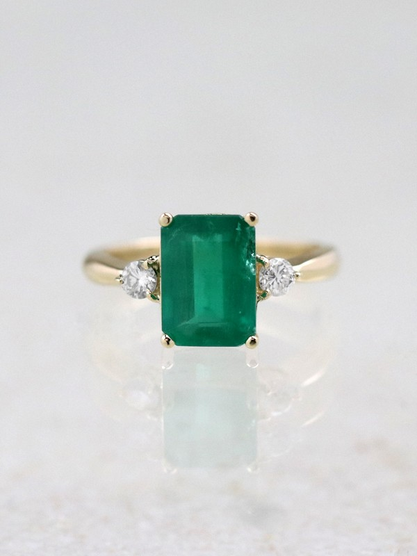 10x8MM Natural Emerald Three Stone 14 Karat Gold Cocktail Ring
