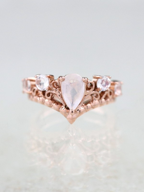 Moonstone Crown Engagement Ring