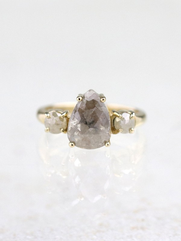 1.23CT Rough Diamond Two Stone Engagement Ring