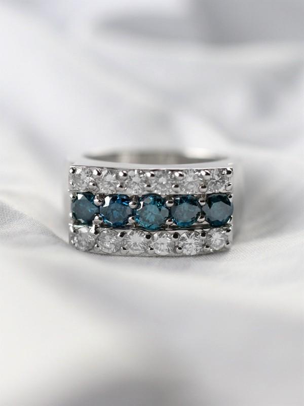 2.45CT Blue and White Diamond Solid 14 Karat Gold Unisex Band