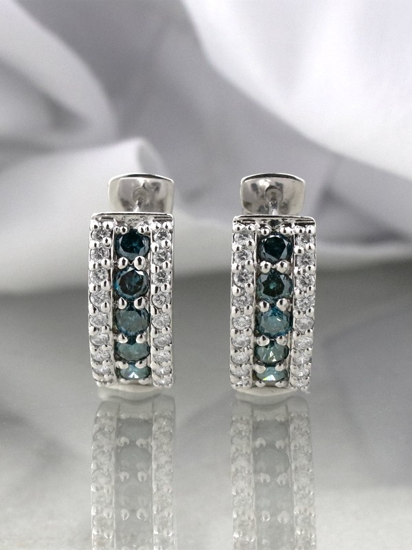 2.0CT Blue and White Diamond Solid 14 Karat Gold Huggie Earrings