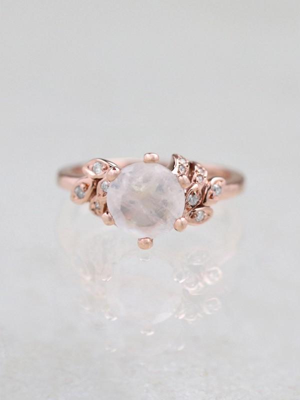 Moonstone Floral Solid 14 Karat Gold Engagement Ring