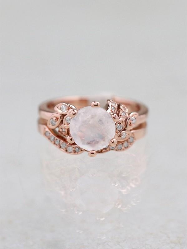 SET.Moonstone Floral Engagement Ring + Moonstone Floral Band