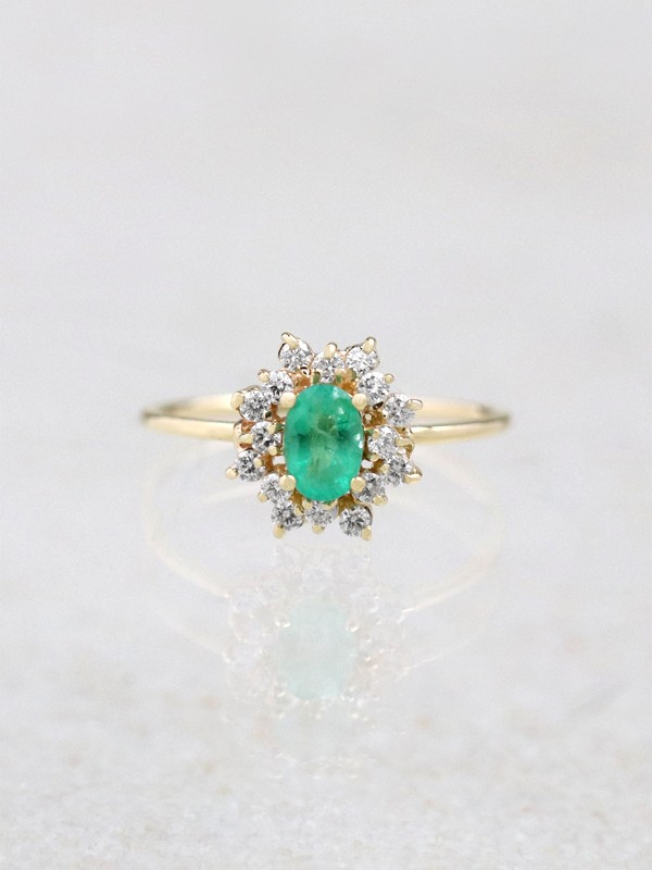 Natural Emerald Double Halo Ring