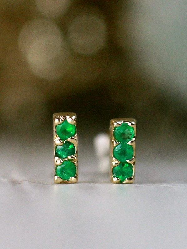 Baby Emerald 14 Karat Gold Bar Earrings