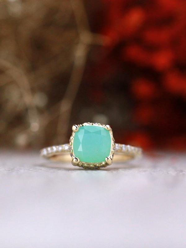 Cushion Peruvian Opal Under Halo Solid 14 Karat Gold Engagement Ring