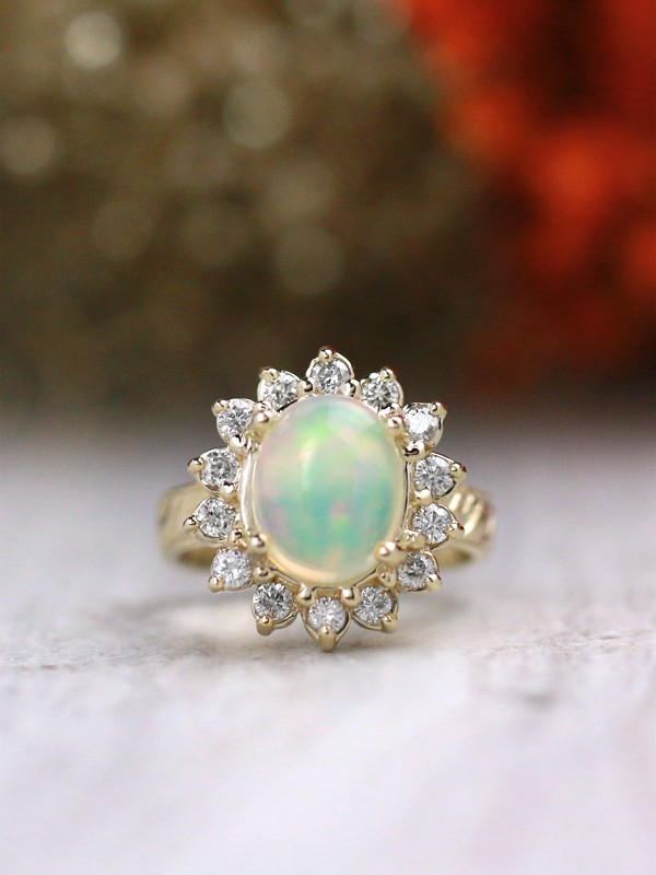 10X8MM Opal and Diamond Halo Filigree Solid 14 Karat Gold Band