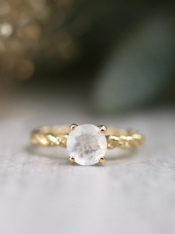 7X7MM Round Natural Moonstone Bohemian Line Solid 14 Karat Engagement Ring