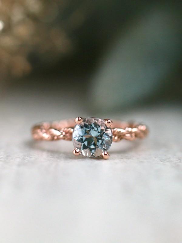 Blue Grey Aquamarine Solitarie Solid 14kg Engagement Ring