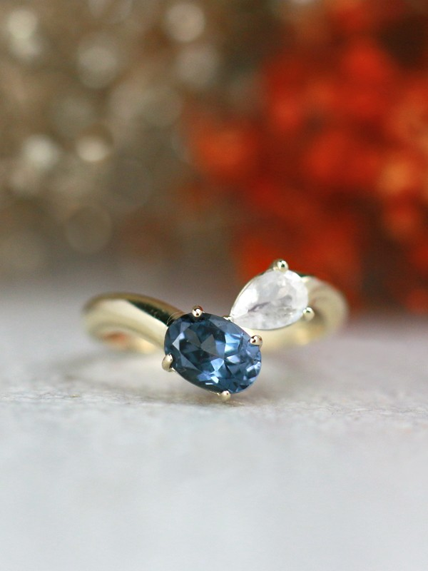 Natural Moonstone and Blue-Grey Tourmaline Bypass Solid 14 Karat Gold Ring