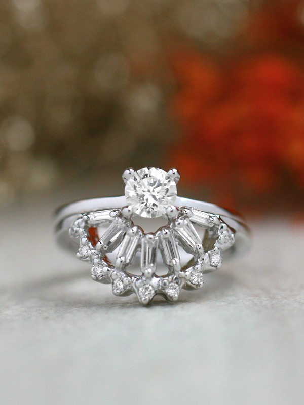 0.5CT Round Classic Solitaire Four Prong Ring+Baguette and Round Diamond Solid 14 Karat Gold Cocktail Ring Guard