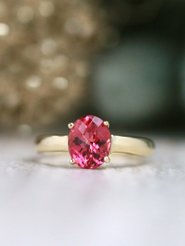 9x7MM Strawberry Pink Tourmaline Solitaire Solid 14 Karat Gold Ring