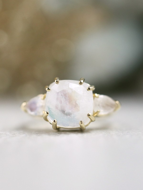 Cushion Moonstone Three Stone Solid 14 Karat Gold Engagement Ring