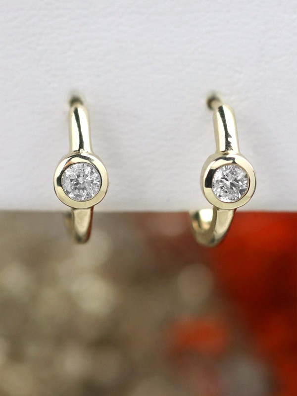 0.40CT Diamond Bezel Solid 14 Karat Gold Hoop Earrings