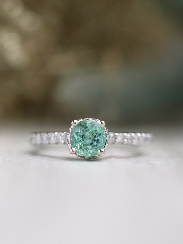 Green Emerald Under Halo Solid 14 K Gold Engagement Ring