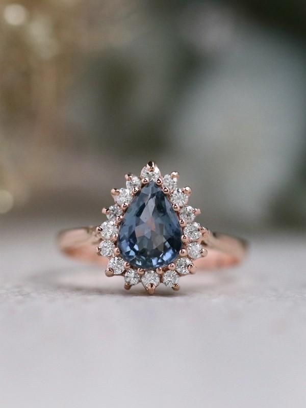 Blue Ceylon Teardrop Sapphire Diamond Halo 14K Gold Ring