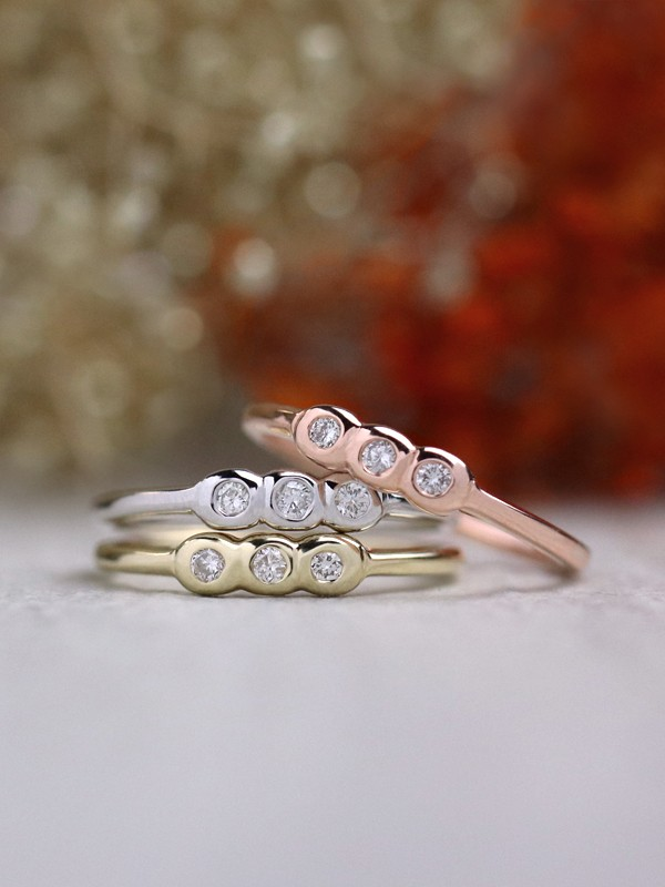 SET: Trio Diamond Bezel Solid 14 Karat Gold Stackable Ring