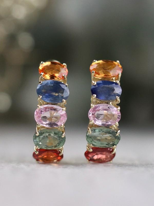 Rainbow Sapphire Solid 14 Karat Gold Hoop Earrings
