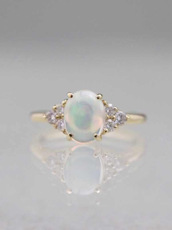 9x7MM Opal Three Stone Solid 14 Karat Gold Cluster Ring