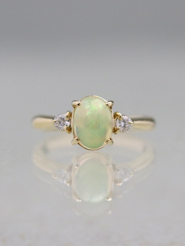 8x6MM Natural Opal Three Stone Solid 14K Gold Classic Ring