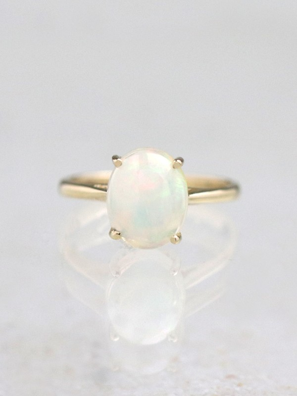 1.95CT Natural Rainbow Opal Solitaire Ring