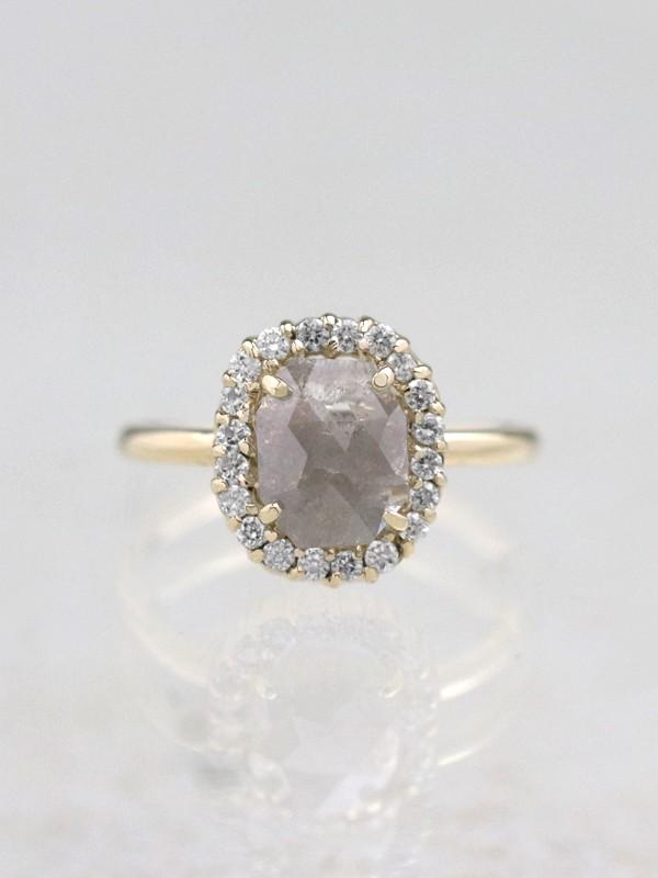 1 Carat Grey Diamond Halo Solid 14 Karat Gold Ring