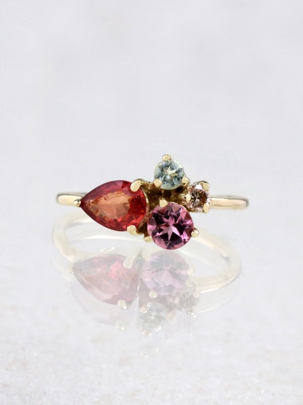 Neopolitan Gemstone Solid 14K Gold Cluster Ring