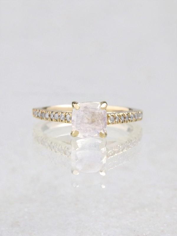Cushion Moonstone Diamond Solitaire Engagement Ring
