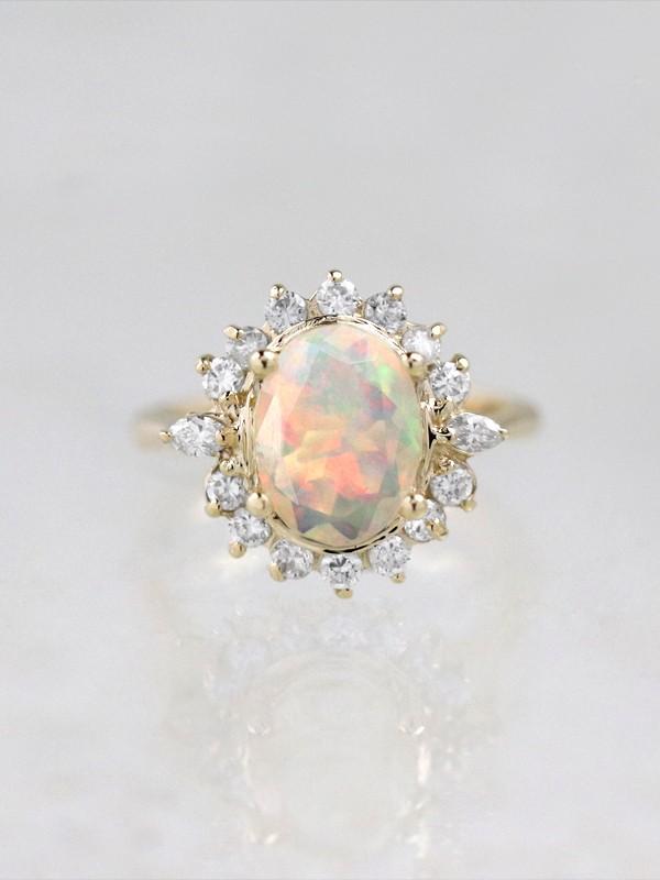 Rainbow Opal Blossom Engagement Ring