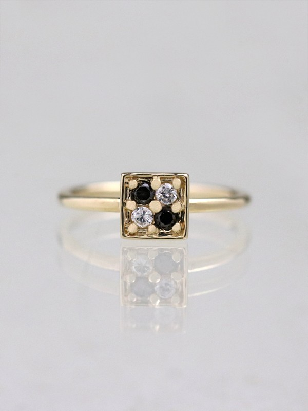 Black and White Diamond Geometric Ring