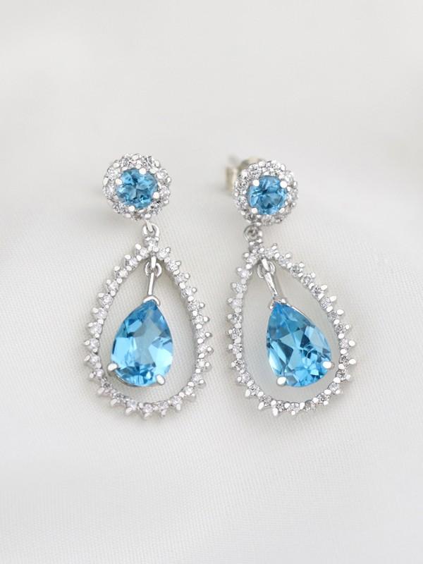 Blue Topaz Chandelier Dangle Diamond Earrings