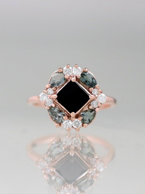Black Diamond and Grey Tourmaline Cluster Ring