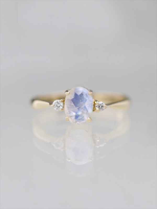 7x5MM Oval Moonstone and Diamond Ring
