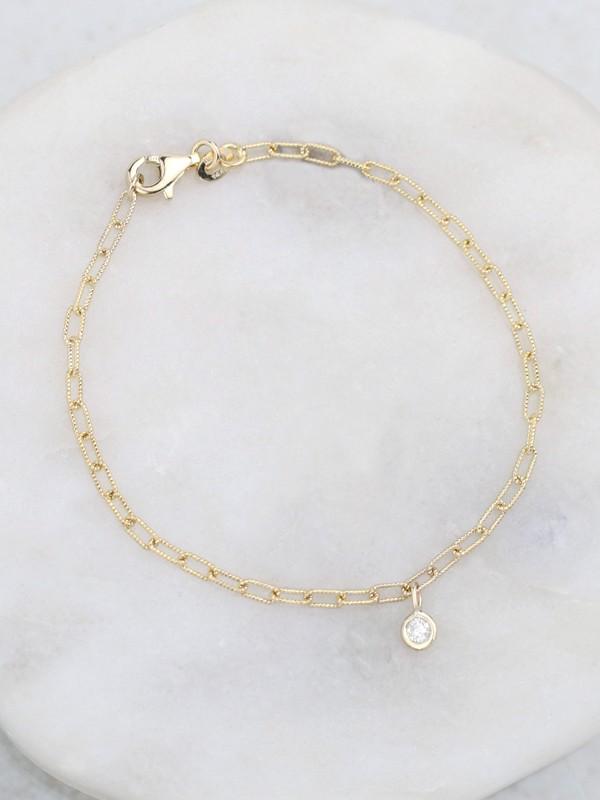 Diamond Charm Link Chain Bracelet