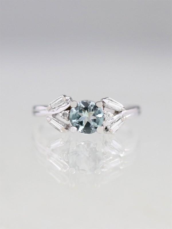 Grey-Blue Tourmaline and Diamond Engagement Ring