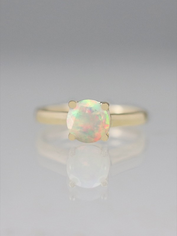 1 Carat Rainbow Faceted Opal Solitaire Engagement Ring