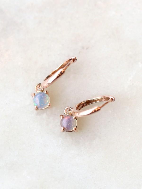 Opal Huggie Drop Earrings