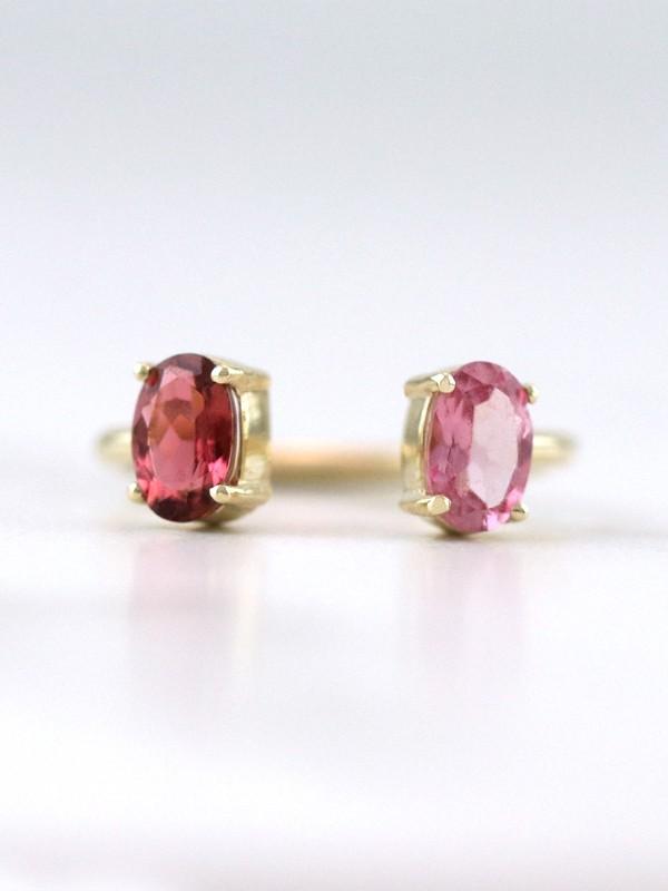Floating Blush Pink Tourmaline Solid 14 Karat Gold Ring